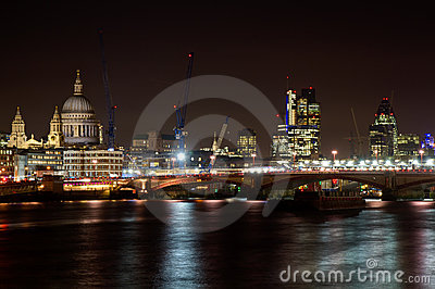 Cityscape of London with St. Paul cathedral