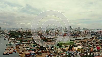 Cityscape Manila Wohnviertel und Geschäftszentrum in der Stadt, Top-Aussicht Große Hafenstadt stock footage