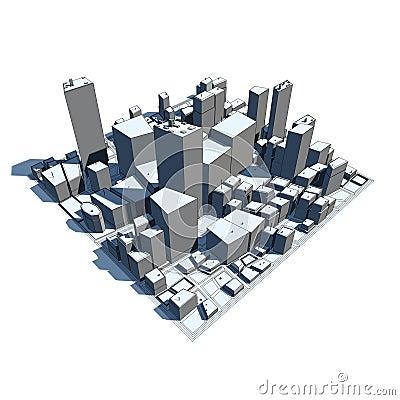 Cityscape Model 3D - Cartoon Syle
