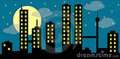 Cityscape with moon and clouds