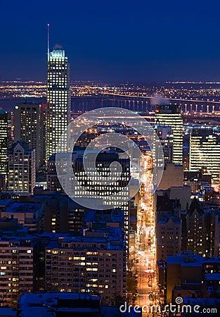 Cityscape night scene Montreal skyscraper