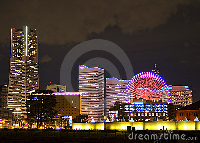 Cityscape night scene in Yokohama