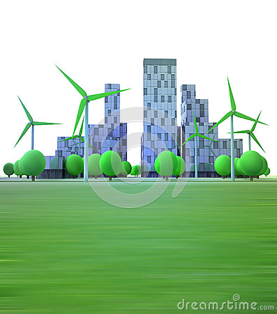 Cityscape with office buildings and wind turbines