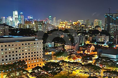 Cityscape at Orchard and CBD area by night