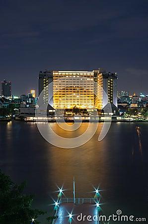 Cityscape Property Bangkok river side on twilight