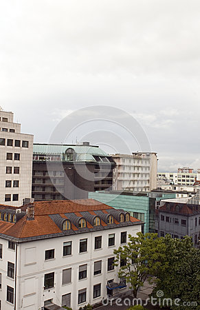 Cityscape rooftop view  office buildings apartments condos busin