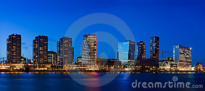 Cityscape of Rotterdam at dusk