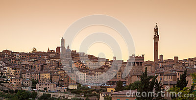 Cityscape of Siena at sunset, Tuscany, Italy