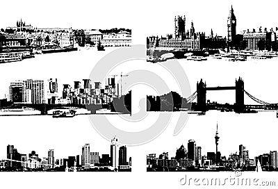 Cityscape silhouette black