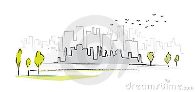 Cityscape, simple symbolic drawing