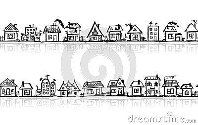 Cityscape sketch, seamless wallpaper