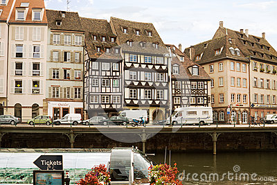 Cityscape in Strasbourg with a row of houses Editorial Image