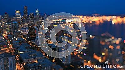 Cityscape van Seattle de Verschuiving van de de Schemerschuine stand van de Tijdtijdspanne stock video