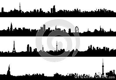 Cityscape vector panorama architecture silhouette