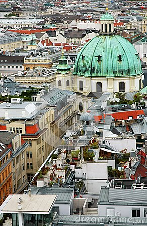 Cityscape of Vienna with St. Peter s church