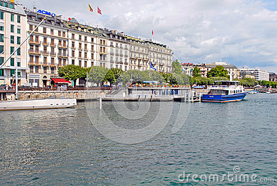 Cityscape View along the bank of Lake Geneva, Switzerland Editorial Stock Photo