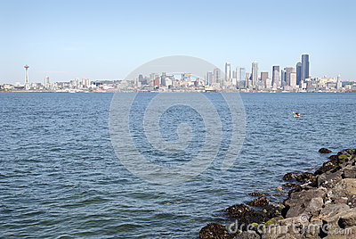 Cityscape View, Elliott Bay, Seattle, USA