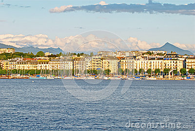 Cityscape View of Lake Geneva, Switzerland Editorial Stock Photo
