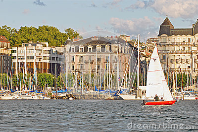 Cityscape View of Lake Geneva, Switzerland Editorial Image