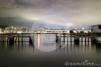 Cityscape View Over Sea With Lights Turned On During Night Free Public Domain Cc0 Image