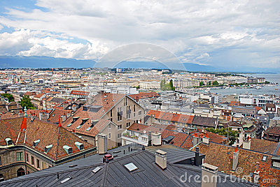 Cityscape View and Shoreline of Lake Geneva, Switzerland Editorial Photo