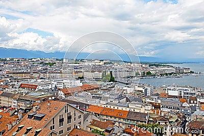 Cityscape View and Shoreline of Lake Geneva, Switzerland Editorial Stock Photo