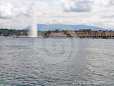 Cityscape View and Shoreline of Lake Geneva, Switzerland Editorial Photography