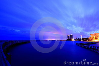 Cityscape with water sunrise twilight
