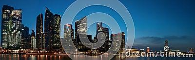Cityscapepanorama singapore Redaktionell Arkivfoto