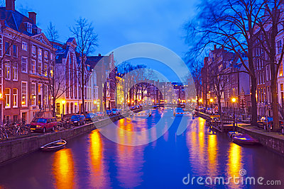 Cityscenic from Amsterdam in Netherlands by night