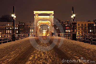 Cityscenic from Amsterdam at night the Netherlands