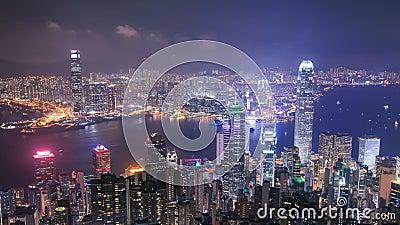 Ciudad de Hong Kong en la noche, visión desde el pico metrajes