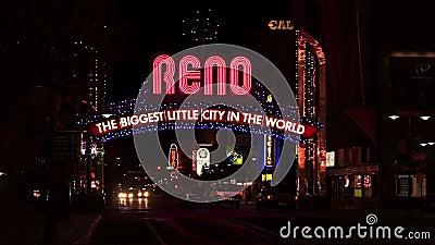 Ciudad de Reno Sign The Biggest Little en el mundo almacen de video