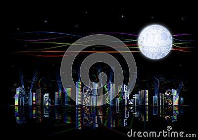 Ciudad futurista de alta tecnología del arco iris