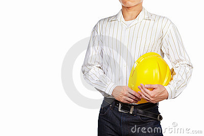 Civil engineer body part with safety helmet