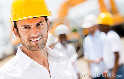 Civil engineer at a construction site