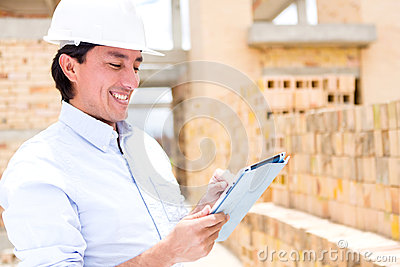Civil engineer with a tablet