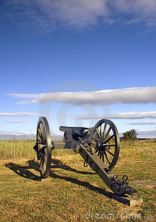 Civil War Cannon in Early Morning Light Gettysburg Battlefield,