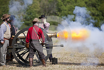 Civil War Cannon Firing Editorial Stock Photo