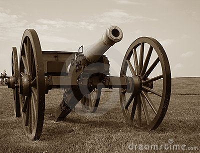 Civil War Era Military Cannon on Battlefield