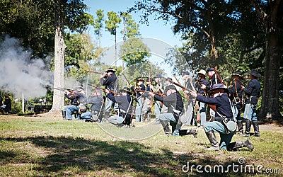 Civil War Gun Battle Editorial Photo