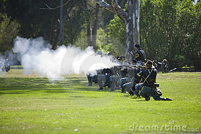 Civil War Re-Enactment 11 - Carbine Fire Editorial Stock Photo