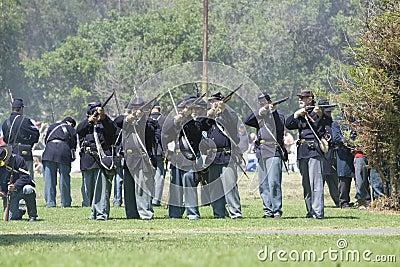 Civil War Re-Enactment 14 Union Soldiers Fire Editorial Photo