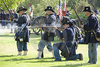 Civil War Re-Enactment 23 - Union Gunfire Editorial Stock Image