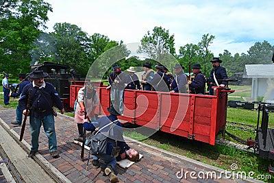 Civil War Reenacting Company F Editorial Photography