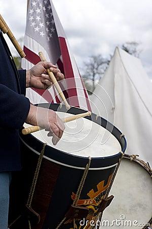 Free Civil War Reenactment March Drummer Musician Stock Photography - 25370132