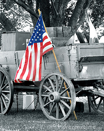 Civil war wagon American flag