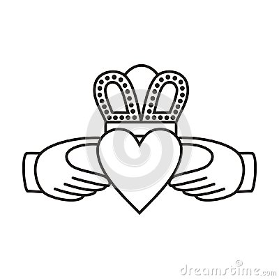 Claddagh irish love symbol of two hands heart and crown available in