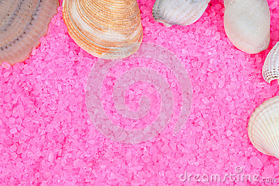 Clam shells on pink bath salts