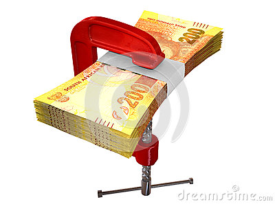 Clamped South African Rand Notes